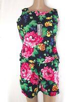 donna completo nero floreale top bermuda made italy taglia it 44 l large