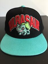 Snapback Pokemon Bulbasaur Hat Embroidered Great Condition Black Ash Ketchum 90s