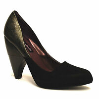 Ladies Womens New Mid Slim Block High Heel Work Pumps Party Court Shoes Size 2-7