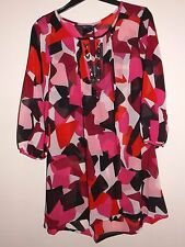 M&S NEW semi sheer pink mix patterned hand embelished front tunic size 8