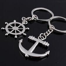 2pcs Set Couple Key Chain Ring Anchor Ship Wheel Rudder Friend Ocean Sea Metal h
