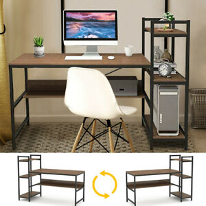 H-shape Computer Desk with 4Tier Bookshelves for Home Office Study Writing Table