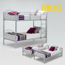 Contemporary Silver 3FT Single Metal Bunk Bed Frame 2 Person For Adult Children
