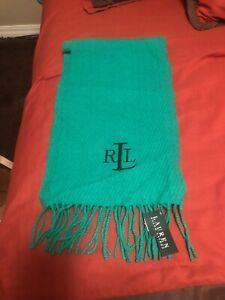 LAUREN Ralph Lauren Unisex Fringe Wool Scarf Rectangular Embroidered RLL Logo
