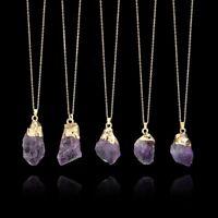 gemstone crystal améthyste pendentif la pierre naturelle collier longue chaîne