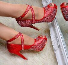 Ladies Peep Toe Platform Court Shoes Ankle strap Diamante Strappy Evening Heels