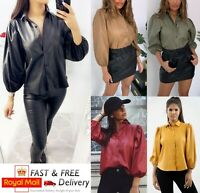 Womens Ladies Faux Leather Shiny Bell Sleeve Button Up Collared Shirt Blouse Top