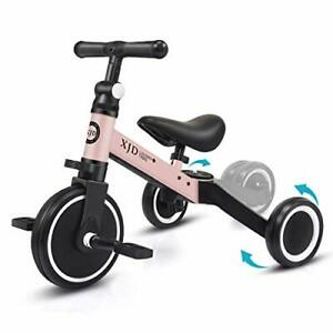 Pink 3 in 1 Kids Balance Bike for 1-3 Years, Adjustable, Multi-use, Soft Seat