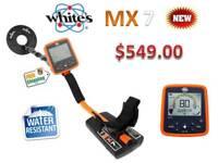 """Whites MX7 Weatherproof Metal Detector w/ 9.5"""" Waterproof Coil - Ships FREE"""