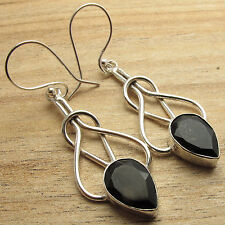 Free Shipping on Additional Items! Silver Plated Genuine Black Onyx ART Earrings