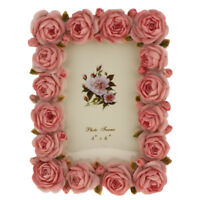 Retro Resin Rose Flower Home Decor Photo Frame Picture Frame Pink 4'' x 6''