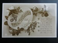 A DREAM OF LOVE MESSAGE Depicts Hearts & Roses c1912 RP by E.A.Scherdtfeger & Co