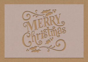 Merry Christmas Stencil Text decorations Festive Craft Card Making