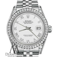 Rolex 31mm Datejust White Color Roman Numeral Dial with Diamond SS Women's Watch