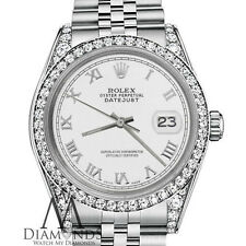 Rolex 31mm Datejust White color Roman Numeral dial with diamonds 18KGold Watch
