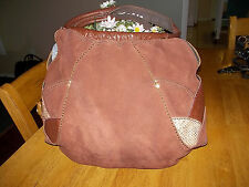 LUCKY BRAND FORTUNE COOKIE BROWN SUEDE LEATHER PATCHES HOBO SHOULDER BAG
