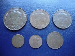 France 10, 5, 2 and 1 centime coins (6)