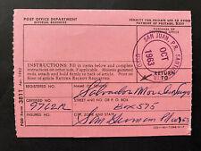 Puerto Rico 1963, USPS FORM 3811, Salvador Morales San German