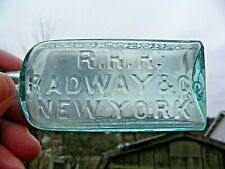 """R.R.R. RADWAY & CO., NEW YORK, MEDICINE BOTTLE, ACT OF CONGRESS, 4-3/4"""" TALL."""