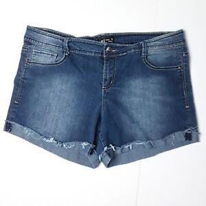 L.e.i. Womens Jean Shorts Sz 17 Junior Mid Rise Medium Wash Frayed Cuffed