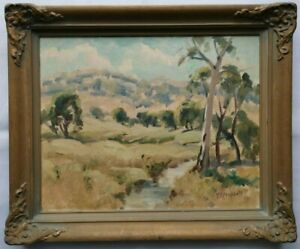Original Framed Oil Painting - Stream with Trees by Donald F Campbell