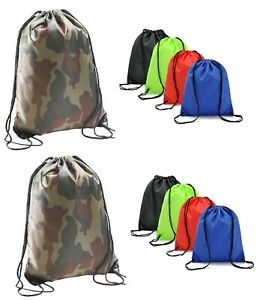 Camo Plain Waterproof Drawstring Bag Sports Gym Sack Swim School PE Kit Shoe Bag
