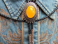 NEW YELLOW QUARTZ  BOLO BOOTLACE TIE SILVER METAL LEATHER CORD WESTERN COWBOY