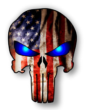 "6"" Punisher Sticker American Flag W Blue Eyes decal for Laptops Tool Boxes Cars"
