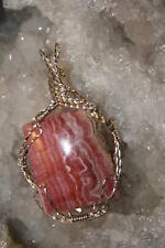 RHODOCHROSITE Pink Cabochon Pendant Wire Wrapped in 925 Sterling Silver by Karen