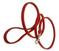 """Small XSmall Real Leather Dog & Cat Leash 45"""" long 3/8"""" wide Red"""