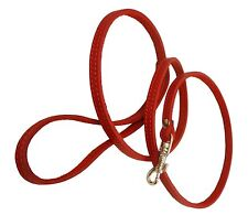 "Small XSmall Real Leather Dog & Cat Leash 45"" long 3/8"" wide Red"