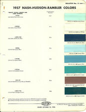 1957 Nash/Hudson/Rambler Color Chip Paint Sample Brochure/Chart: DuPont, Du Pont