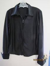 EUC CAbi Ladies Black Full Zip Knit French Cuffs Collar Style # 246 Blouse L