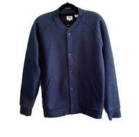 Levis Men's Size L Large Knit Bomber Jacket Jumper Navy Blue
