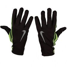 NEW Nike Men's Swift Attitude Run Gloves Black / Volt Lime Green Med Lightweight