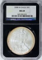 2008-W $1 Silver Eagle Burnished NGC MS-69 (Black Retro Holder) (Toned) MS69