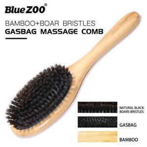 Boar Hair Bristles Beard Mustache Brush Anti-static Natural Bamboo Handle F1R1