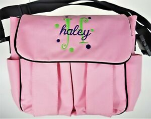 """""""Haley"""" Personalized Embroidery Pink  Messenger School Diaper Bag Precious Cargo"""