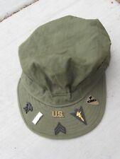 WW2 USMC/US Army HBT Herringbone Twill Cap Wide Brim Size 7 1/4 with Extras XL