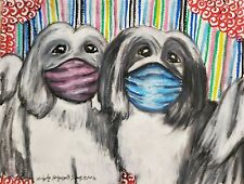 Havanese in Quarantine Art Print 5 x 7 Dog Collectible by Artist Ksams Vintage