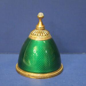 Antique Faberge Green Guilloche Enamel Gilt Sterling Perfume Bottle M Perchin