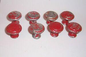 Vintage Aluminum  Drawer Knobs Mushroom Shape Set of 8 Old Red Peeling Paint