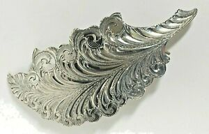 Exquisite Western Rodeo Hand Carved Sterling Silver Feather Hair Clip Cowgirl