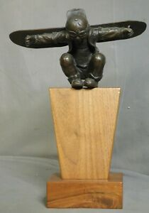 1988 Christopher Wayne Bell Bronze Aviation Sculpture Statue Young Boy Airplane