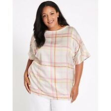 M&S Collection CURVE Checked Short Sleeve Blouse White Mix ~BNWOT ~ Size UK 28