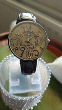 Orologio Donna con Anaii alla Moda Cromato Custodia & Ivory & Silver faccia cinturino nero.