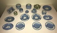 Collection of Wedgwood Jasperware Blue & Sage w/ White Relief Large Lot 25 Pcs