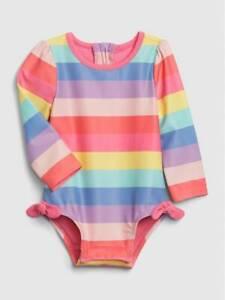 Baby Gap Rainbow Stripe Long Sleeve Rash Guard One Piece Swim Suit NWT