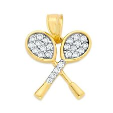 Real Solid 14k Two Toned Gold Tennis Sport Charm Pendant with CZ Stones.