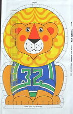 "Sports Lion Football cloth fabric panel pillow doll cut n sew 14"" Vtg 80s"